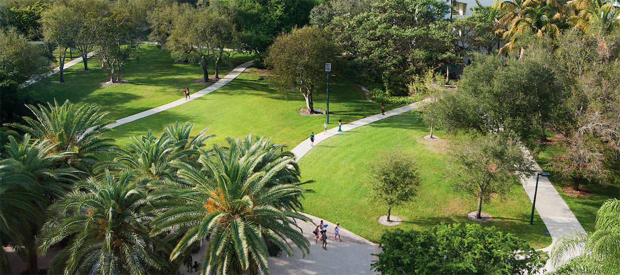 An aerial photo of the University of Miami Coral Gables campus.