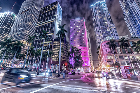 This is a stock photo. A time-lapsed photo taken in downtown Miami, Florida.