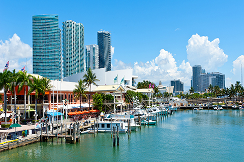 A stock photo. An aerial view of Bayside Marketplace in downtown Miami, Florida.
