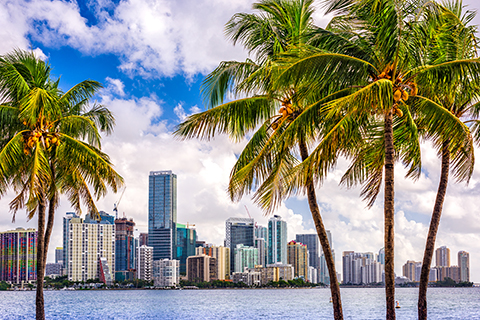 A stock photo. A cityscape view of downtown Miami, Florida.