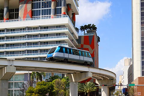A stock photo. A photo of the metro mover in downtown Miami, Florida.