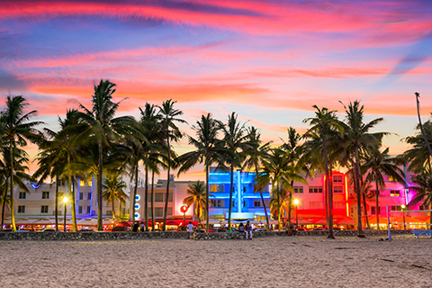 A stock photo. A cityscape view of South Beach in Miami Beach, Florida.