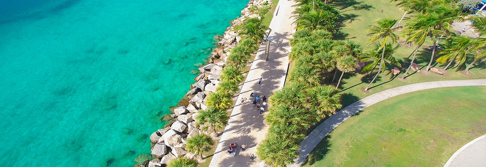 This is a stock photo. An aerial photo of South Pointe Park in Miami, Florida.